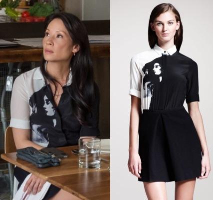 Joan-Watson-Elementary-Black-and-white-grapic-print-shirt-dress
