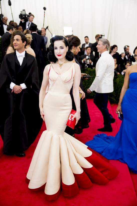 Dita Von Teese in a Zac Posen dress,
