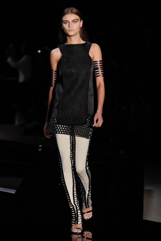 Black beads dress and white legging